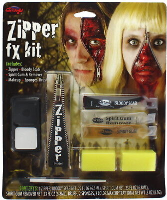 Zipper Fx Kit with Zip, Scab, Spirit Gum and Remover - Perfect for Halloween