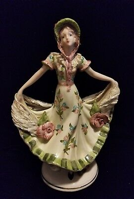 "FINE Ceramic Pretty Lady 10"" H FIGURINE 8"" Spread of Dress, Bonnet Hand Painted"