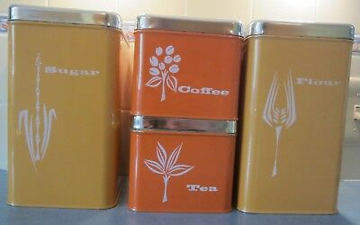 Vintage Lincoln BeautyWare 4pc Canister Set- Mid Century RARE