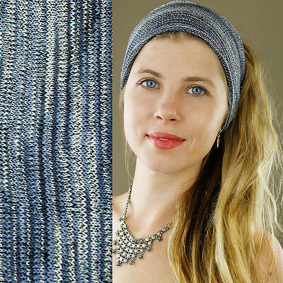100% Cotton Extra Wide Nepalese Hippy Boho Hair Headband Stretch Blue Grey White