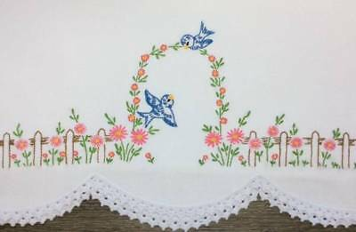 Vintage Single Pillowcase Embroidered Crocheted BLUEBIRDS IN FLOWER GARDEN