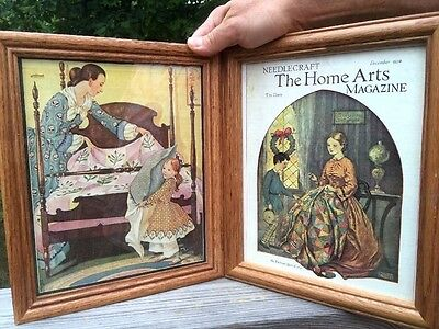 FRAMED ART PRINTS Needlepoint Gleaning Aunt Laura's Patchwork QUILT of 1890 ~