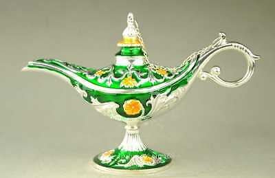 Handwork Miao Silver & Cloisonne Carving Flower Magical Aladdin Lamp green b02