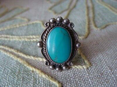 OLD Navajo Silver Natural Turquoise Ring GORGEOUS STONE 3Split Shank EXC Sz 7.75