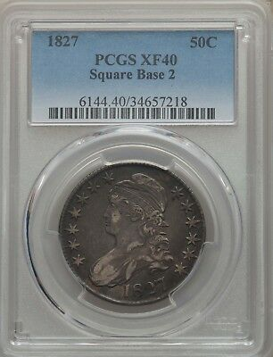 1827 50C Capped Bust Half Dollar Square Base 2 PCGS XF40 #34657218 EYE APPEAL!!!