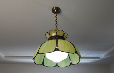 Vintage Bohemian Slag Glass Pendant Light