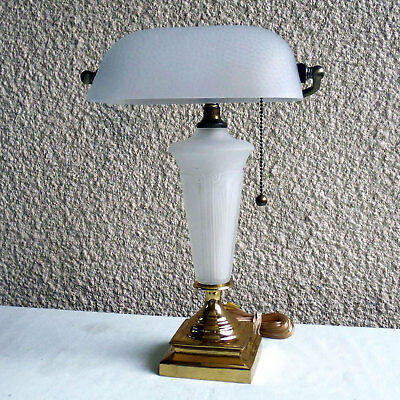 VINTAGE 1930s ART DECO BANKERS DESK LAMP FROSTED GLASS SHADE