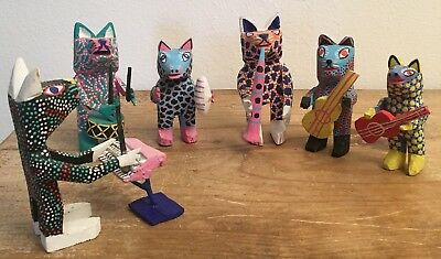 Vintage Mexican Folk Art Cat Band Woodcarving