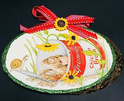 SUMMER SNOOZE MOUSE IN SOUP CAN Wood Slice Glittered Card Ornament