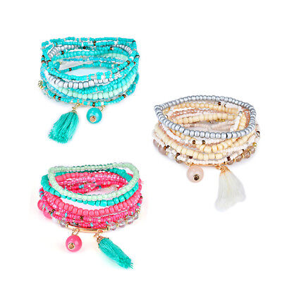 Fashion Women Bohemian Boho Beaded Bracelet Pendant Multi Layer Tassel Charm Set