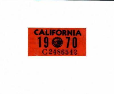1970 California License Plate Validation Sticker, Near Mint Original DMV Issued