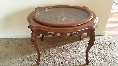 Antique 1890-1900 Handcarved Art Deco Water Nymph Accent Table  Lovely Patina