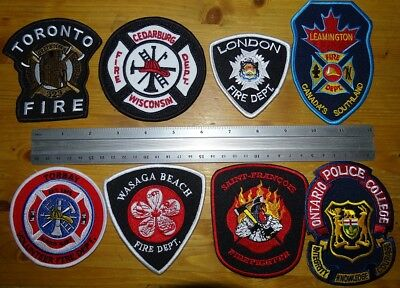 8 different Fire Department Firefighter Canada / USA patches NEW
