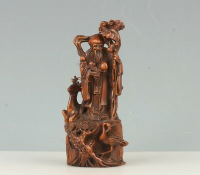 Chinese Exquisite Hand-carved Longevity god deer Crane carving Boxwood statue