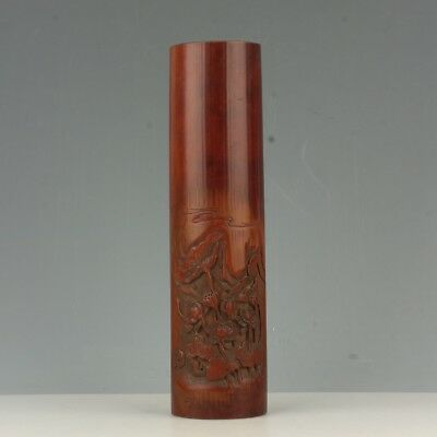 Chinese Exquisite Hand-carved lotus carving bamboo statue