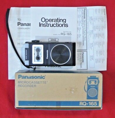Vintage Panasonic RQ-165 Micro Cassette Tape Player Recorder in Box w/ Paperwork