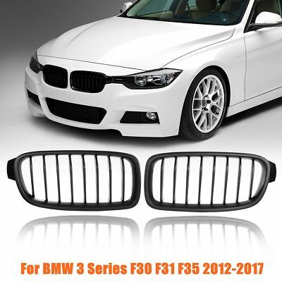 2Pcs Front Kidney Grill Grilles Matte Black New For BMW F30 F31 F35