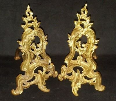 Antique Pair Of French Rococo Gilt Andirons Chenets Louis XV