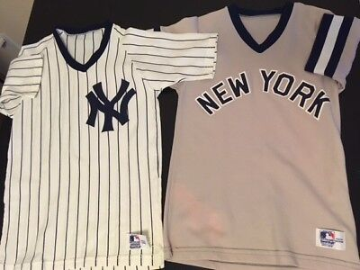 Two (2) youth size New York Yankees uniform shirts (from the '80s!) Lightly used