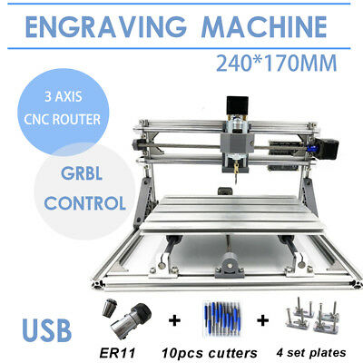 Mini 3 Axis CNC 2417 Router Engraver USB DIY Milling Drilling Carving Machine