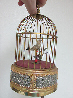 "11"" Vintage German Automaton Singing bird cage w/ Cherubs on base. Needs repair."