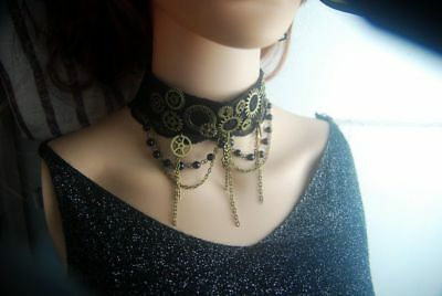Steampunk Girls Gears Tassels Black Choker Gothic Lady Necklace Vintage Collar