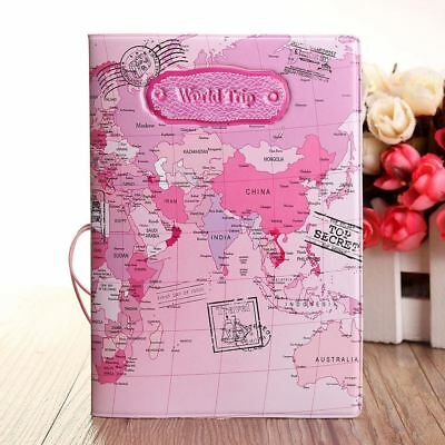 Pink World Map Passport Holder Traveling Passport Cover Case Card&ID HoldersBag