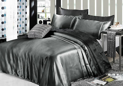1000TC All Size Soft Silky Satin Fitted Flat Sheet Pillowcase Bed Set in Grey