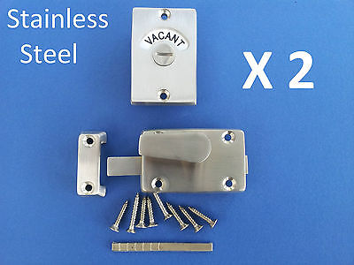 2 X Indicator Bolts Stainless Steel Bathroom Toilet Door Lock Vacant Engaged