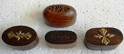 Vintage Design Wooden Hand Carved Brass Fitted Trinket Jewelry Box Lot of 4
