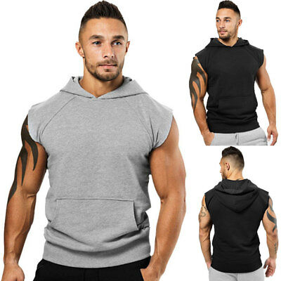 USA Men Muscle Hoodie Tank Top Bodybuilding Gym Workout Sleeveless Vest T-Shirt