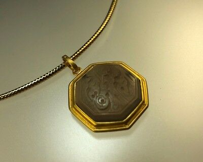 21 K Solid Gold Pendant with Antique Islamic Yemen Agate Calligraphy Engraving