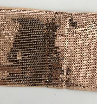 ATTRACTIVE INDIAN COPPER SEQUIN RIBBON LACE TRIM 10 cm WIDE -SOLD by METRE