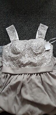 3 x Grey silver bridesmaid dress lace detail full length size 14 22 26