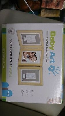 Baby art double print frame foot hand and photo