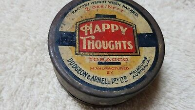 SUPER RARE HAPPY THOUGHTS TOBACCO TIN made in AUSTRALIA DUDGEON & ARNELL