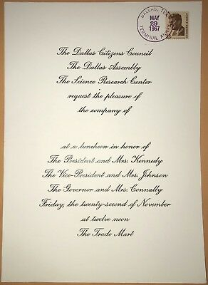 Rare 11/22/63 Trade Mart Luncheon Numbered Invitation Kennedy Assassination Jfk