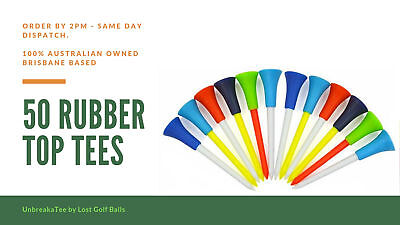 50 Rubber Top Golf Tees **unbreakatee Brand ** 83Mm, Non-Slip