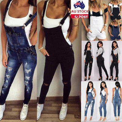 Women Denim Jeans Overalls Jumpsuit Dungaree Strap Pocket Pants Trousers Romper