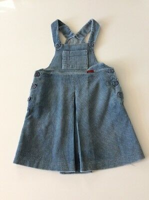 Original Vintage girls Blue Cotton corduroy Pinafore Dress By Clarks Age 4 104cm