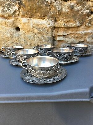 Chinese Silver.6 Anciennes Tasses a Thé en Argent Massif 1485 Grammes.