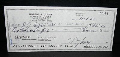 Bob Cousey Hall of Fame NBA Boston Celtic Guard Signed/Endorsed Check #3181 11/1