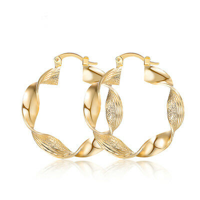 Twisted Large Big 18k Gold Plated Hoop Earrings Large Circle Creole Chic Hoops