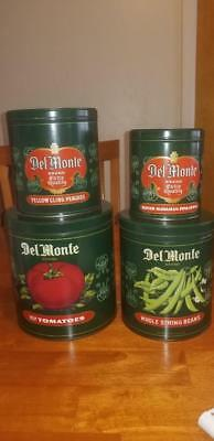 Vintage Set Of 4 Del Monte Tin Metal Nesting Canisters made in England