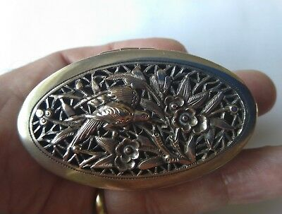 Super Quality Antique Tuck Chang Chinese Silver Oval Pierced Magpie Blossom Box