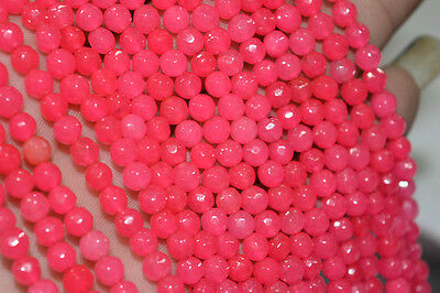 "New  4mm faceted jade round beads 15"" strand fuschia pink"