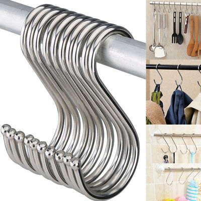 Large Small Stainless Steel S Hooks Kitchen Meat Pan Utensil Clothes Hanger Hook