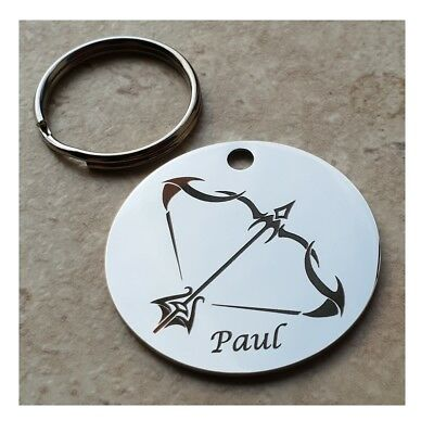Saggitarius Keyring, Beautifully Personalised, Engraved Zodiac Star Sign Keyring