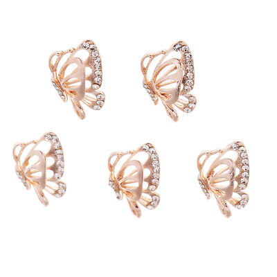 5PCS Rhinestone Butterfly Buttons Pearl Diamante Buttons for Jewelry Making