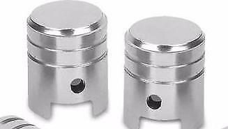 Bike It Motorcycle Tyre Pair Piston Silver Anodised Large Valve Caps BC6308 - T